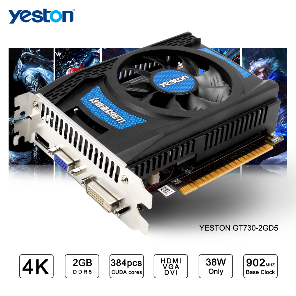 Yeston GeForce GT 730 GPU 2GB GDDR5 64 bit Gaming Desktop computer PC Video Graphics Cards support best for msi gt60 gt70 gaming laptop computer graphics video card nvidia geforce gtx 680m gddr5 2gb replacement optical case