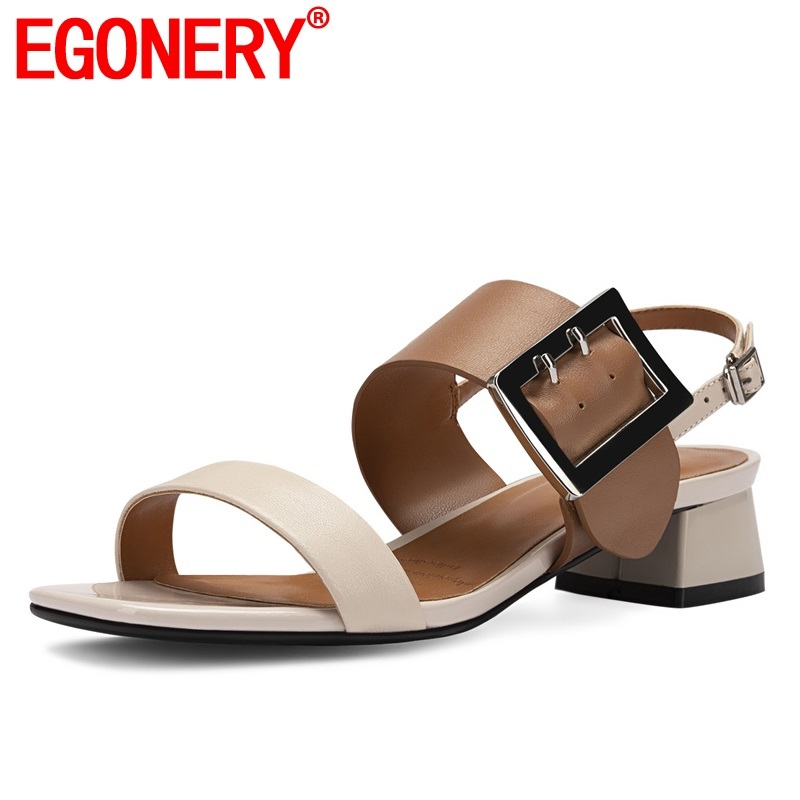 EGONERY shoes woman 2019 summer new concise casual high quality sheepskin woman sandals outside mid square