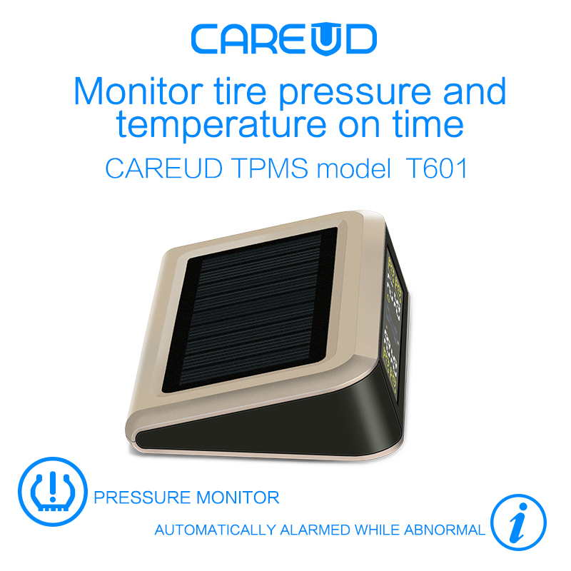 solar power supply TPMS car tire pressure monitoring system with 4 internal sensors PSI/BAR measurement High quality CAREUD 601