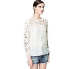 Long Sleeve Lace Blouse 2016 Summer Blouse Women Chiffon Plus Size 5XL Tops Casual Crochet Blusas Black White Lace Blouse XXXL