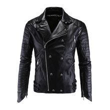 Mens Leather Jackets Black Motorcycle PP Skull Leather Jackets Rivets Zipper Slim Fit Quilted Punk Jacket Biker Coat 5XL цена 2017