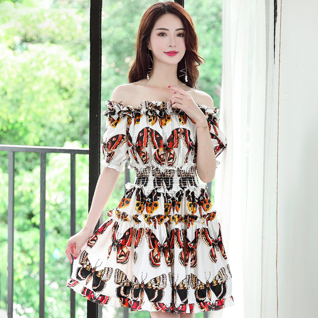 High quality 2018 new fashion designer short dress Women s Puff Sleeve  Vintage Butterfly Print Slash Neck e3b3bf7b3ca7