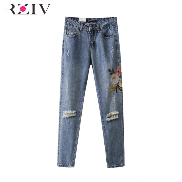 RZIV 2017 рваные джинсы для женщин джинсы случайные отверстия вышитые цветы джинсы женщина
