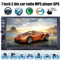 7'' inch 2 din Bluetooth Touch Screen Car GPS Stereo Radio FM MP5 MP4 USB steering wheel control 8G map card available