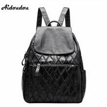 Aidoudou брендовая мягкая Разделение кожаный рюкзак для Колледж Обувь для девочек Школьные сумки мода плед Для женщин Рюкзаки Сумка Черный