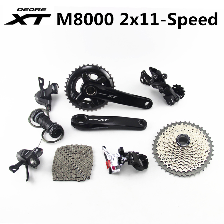 SHIMANO DEORE XT M8000 Groupset 28 38T 26 36T 170 175mm Crankset Mountain Bike Groupset 2x11 Speed 40T 42T 46T M8000 22 SPEEDBicycle Derailleur   -