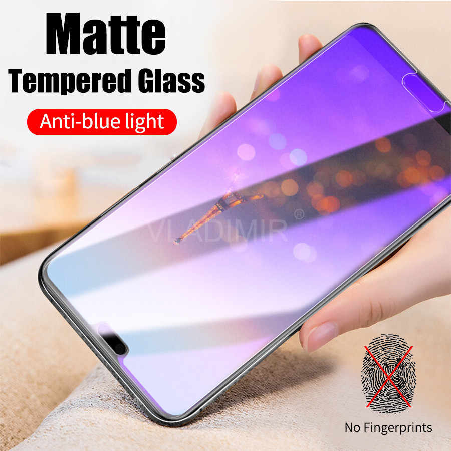 Anti UV Purple Blue Light Fingerprint Matte Frosted Tempered Glass For Huawei Honor 10 Lite 8X Max 7X View 20 V20 Play Y9 2019