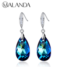 MALANDA 2018 Water Drop Earrings Fashion Crystal From SWAROVSKI Zircon Earrings For Women Dangle Earrings Wedding Party Jewelry