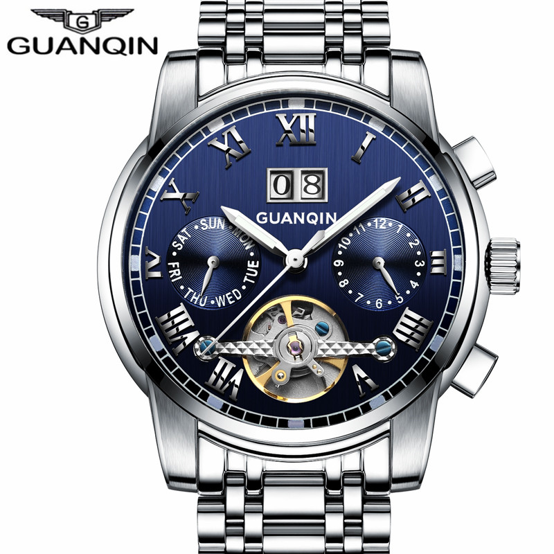 цена на GUANQIN Watches Men Business Luxury Sport Automatic Date Mechanical Steel Watch Luminous Mens Tourbillon Top Brand Wristwatch