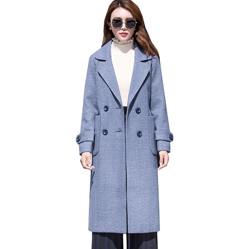 Autumn Winter Women Long Woolen Jacket Elegant Slim Belt Pocket Ladies Outerwear Plus size Double-breasted Womens Wool Coat 4XL