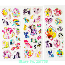 2016 nya 3Pcs / lot tecknad film Little Horse Unicorn Sticker 3D Puffy Animal Stickers Leksaker för barn