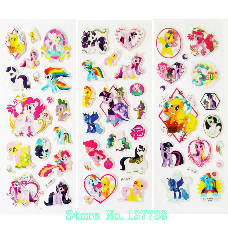6Pcs/lot cartoon Horse Unicorn cute toys pretty Sticker 3D Puffy Animal Stickers Toys for kids