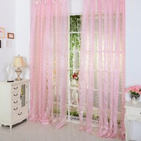 Super Romantic Tulle Curtain Window Screening With Chrysanthemum Shaped Decoration For The Living Room