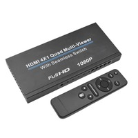 Upgraded HDMI Splitter 1080p 6.7Gbps 4x1 Quad Multi viewer Seamless Switcher IR Control Operated With Remote Screen Splitters