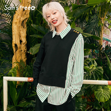 Samstree Striped Patchwork Casual Blouse Shirt Women 2019 Autumn Loose Leisure Korean Style Ladies Blouses