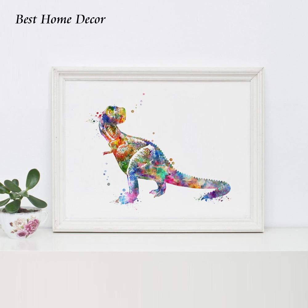 Dinosaur suluboya sənəti afişası Dinosaur Divar İncəsənəti - Ev dekoru - Fotoqrafiya 2