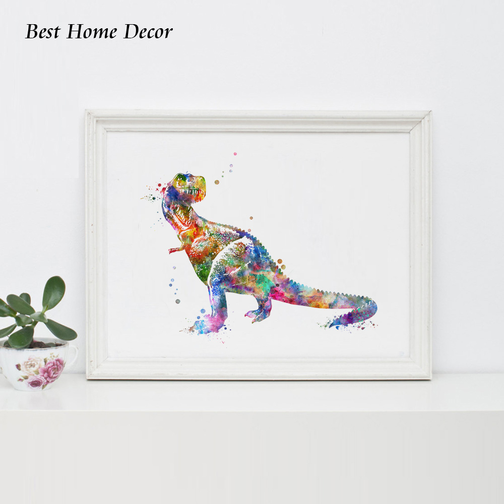 Dinosaurus Cat Air Seni Poster Dinosaurus Wall Art Inspirasi Dekorasi - Dekorasi rumah - Foto 2