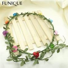FUNIQUE Headdress Flower Wreath Hair Accessories Women Wedding Hair Jewelry Accessories Bridal Bridesmaid Headpiece Hair Pin