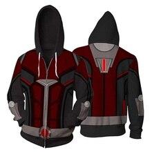 hot deal buy 2018 ant man and the wasp zipper hoodies jacket hoodie sweatshirt ant-man streetwear hip hop mens hoodies sweatshirts us size