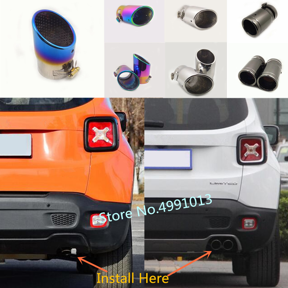 for jeep renegade 2016 2017 2018 car styling cover muffler end stainless steel tail pipe dedicate outlet exhaust 1pcs 2pcs