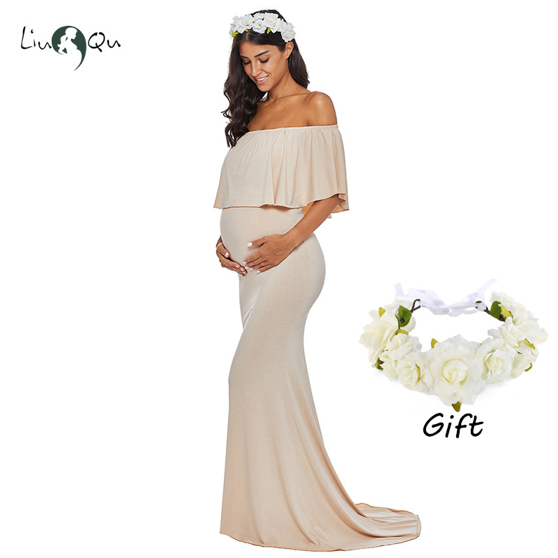 a35d7b70fd1d BUY ONE GET ONE Baby Shower Dress Ruffle Maternity Dress for Photo Shoot  Mermaid Ruffles Pregnancy Clothes Maxi Long Gown-in Dresses from Mother &  Kids on ...