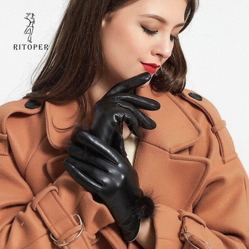 RITOPER Women's Winter Gloves Goat Skin Sheepskin Touch Screen Mink Hair Ball Thicken Warm Fashion Exquisite Genuine Leather