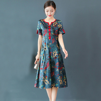 Natural 100% real silk dress plus size L 3XL 4XL 5XL women summer print floral runway party dresses Chinese elegant red clothing