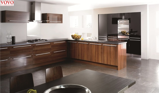 High Gloss Wood Grain L Shaped Kitchen Design In Kitchen