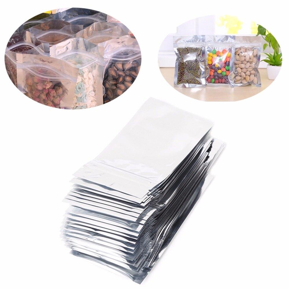 50Pcs 7x13cm/8.5x14cm/9x16cm/10x17.5cm Silver Aluminum Foil Mylar Recloeable Ziplock Bag Front Clear Leak Proof Pouch F20