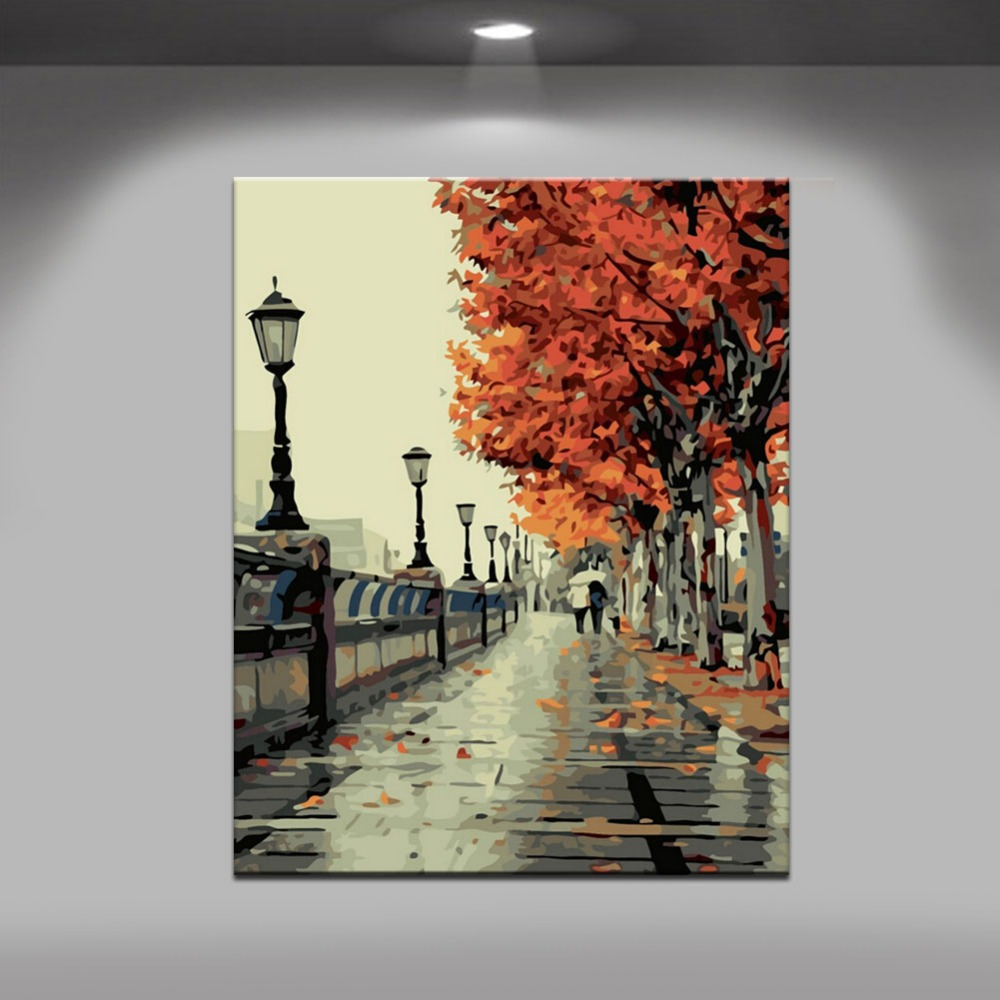 Paint By Numbers - Landscape The Embankment Decoration Art Oil Painting With Frame Or Without