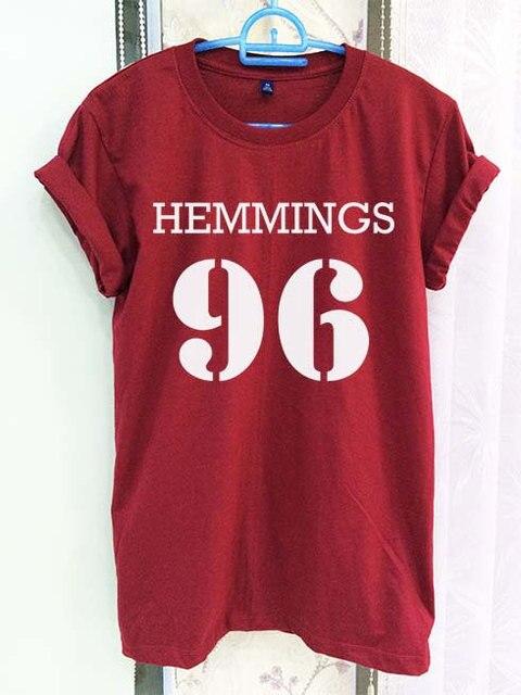 e07e78b21039 Luke Hemmings 96 Shirt 5sos 5 Sos Crimson Red Women Tshirt Tee Short Sleeve  T-