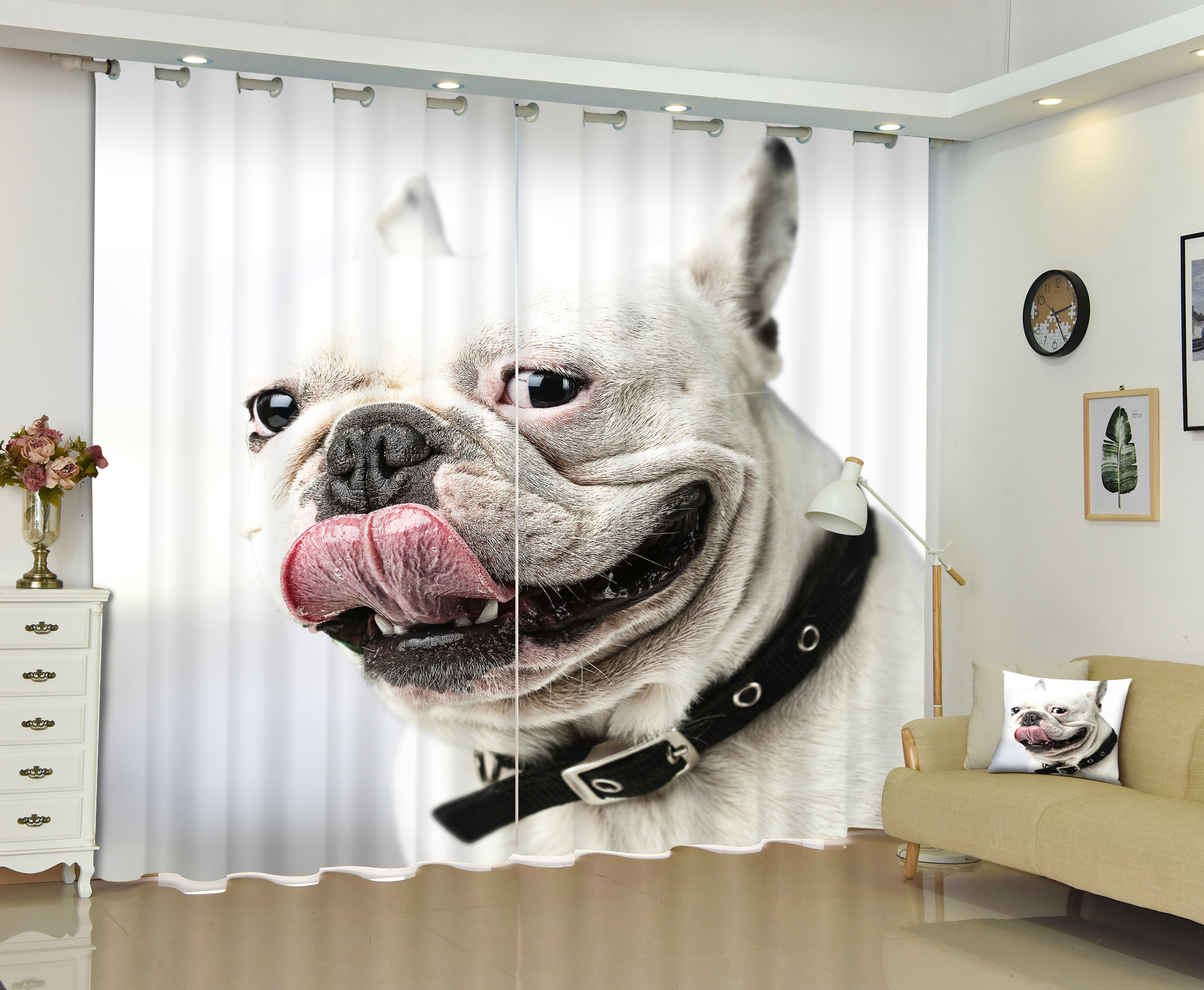 New Sweet Dog Curtains 3D Animal Bedding Room Window Curtain Backout Shade Curtain for Hotel Customized Size Availzble