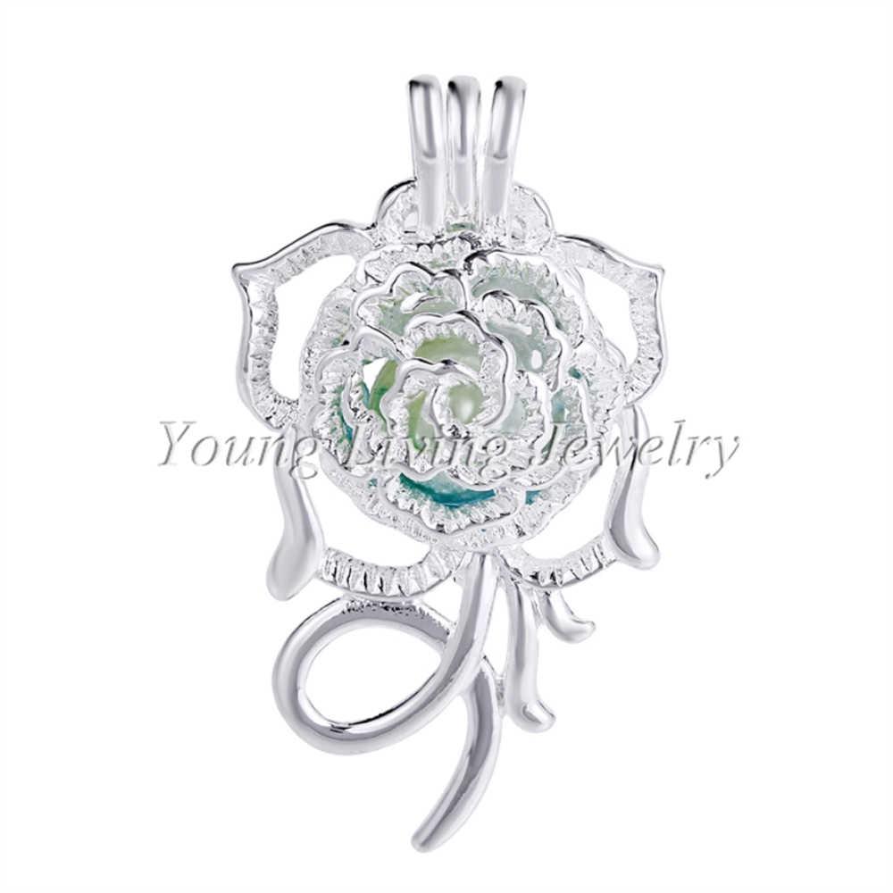 5 pcs Bright Silver Rose Lotus Pearl Cage จี้สำหรับ Aroma น้ำหอม Essential Oil Diffuser สร้อยคอสร้อยข้อมือ