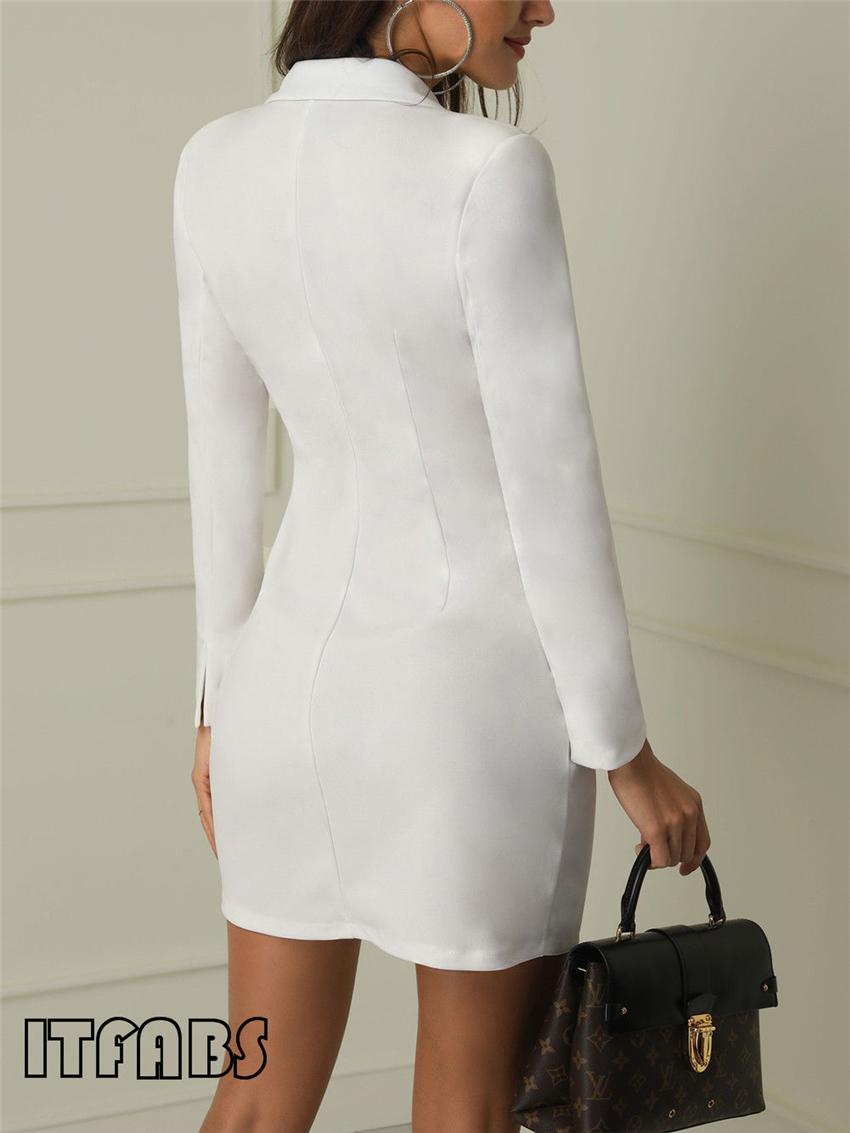 Women business Sexy Casual outwear women slim Button business dress women 5