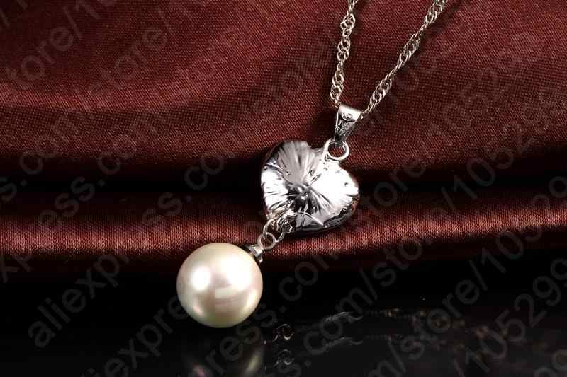 Wedding Fine Jewelry Sets Real Pure 925 Sterling Silver Cubic Zircon Crystal Pendant Necklaces Earring Pearl Engagement Set