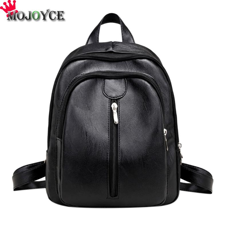 MOJOYCE Women Backpack Fashion PU Leather Shoulder Bags Black Color School Travel Bag for Teenager Girls Backpack Mochila