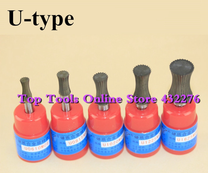 U-type5pcs/set different sizes single cut concave cylinder CARBIDE ROTARY BURS FILE 6MM Shank
