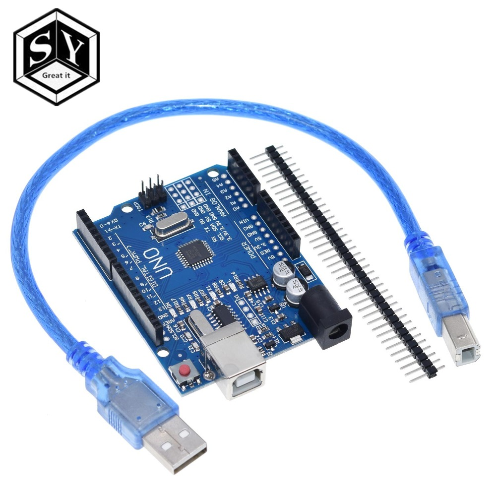 GREAT IT High Quality One Set UNO R3 CH340G+MEGA328P Chip 16Mhz For Arduino UNO R3 Development Board + USB CABLE