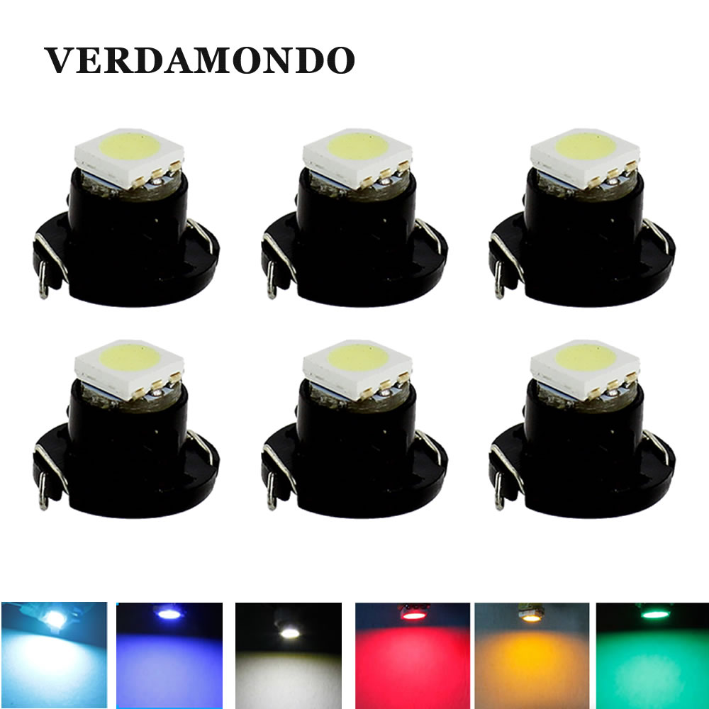 6pcs T4.7 LED Lamps 5050 SMD Car Dashboard Warning Indicator Light Instrument Cluster Bulb White Blue Red Yellow Green Ice Blue