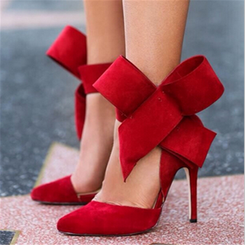 Fashion Women's Shoes Pointed Toe Big Bowtie Thin Heels High Sandals Female Wedding Red Blue Green Pink Black