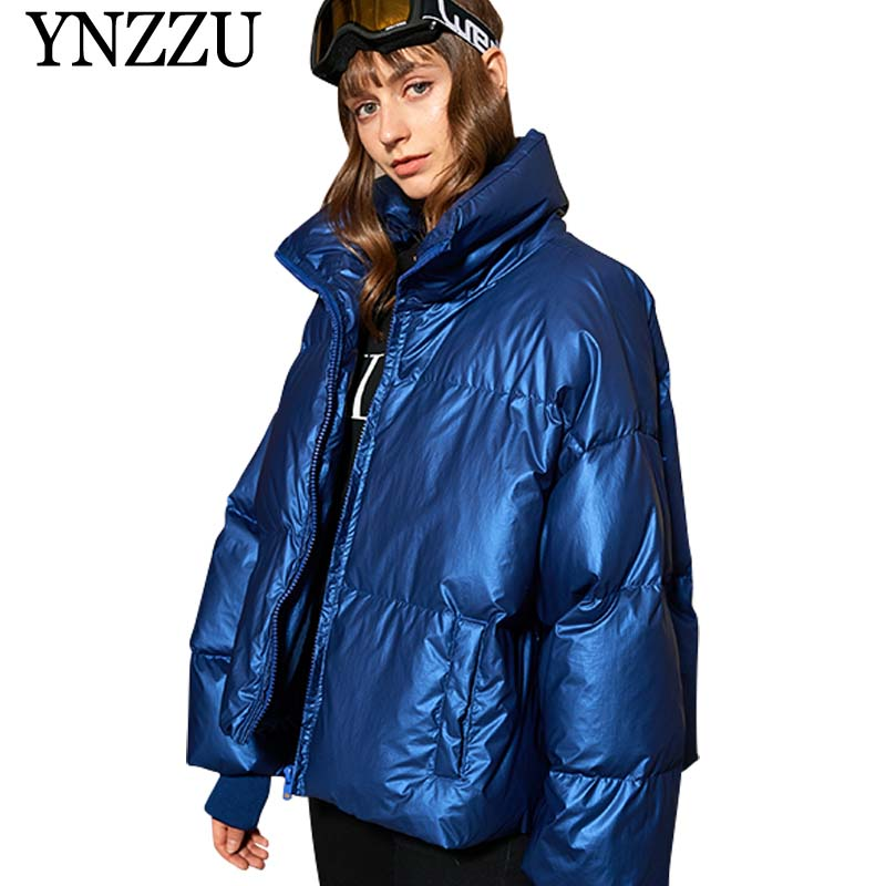 YNZZU Korean 2019 New Winter Jacket Women Casual Short Letter Duck   Down     Coat   Woman Stand Collar Thick Warm Loose Outwears O807