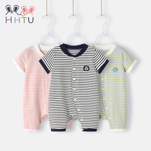 HHTU Baby Striped Rompers Short Sleeve Summer Cotton Infantis Clothing Cartoon Newborn Jumpsuits Outfits Clothes