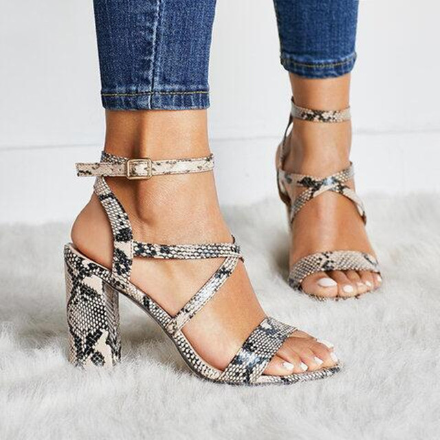Women Prints Snakeskin Sandals Pumps Super High Heels 10CM Square heel Lady Party Sandals Open Peep Toe Shoes Plus Size 34-43