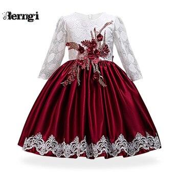 4dc738f3e Berngi niños niñas elegante de la boda de flor chica vestido de princesa  fiesta desfile Formal largo sin mangas de encaje de 2-10 Y