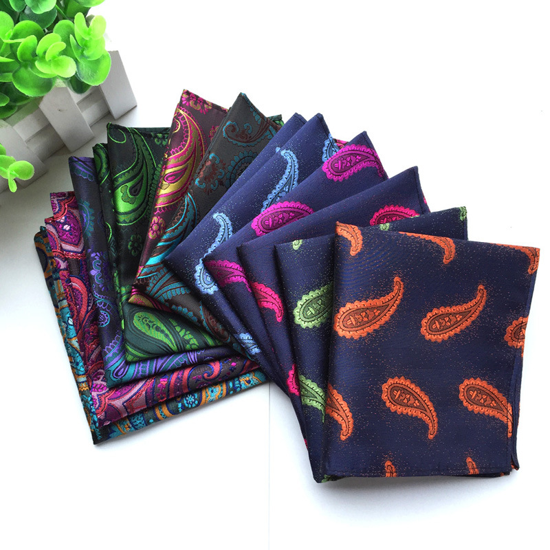 23 Style New Classic Paisley Cashew Floral Men Silk Satin Pocket Square Hanky Jacquard Woven Classic Wedding Party Handkerchief