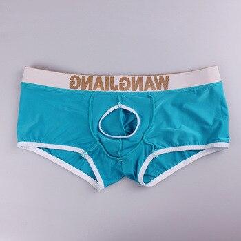 Sexy Mens Penis Loch Unterwäsche Tasche Vorne Offen Boxer Shorts Männer  1