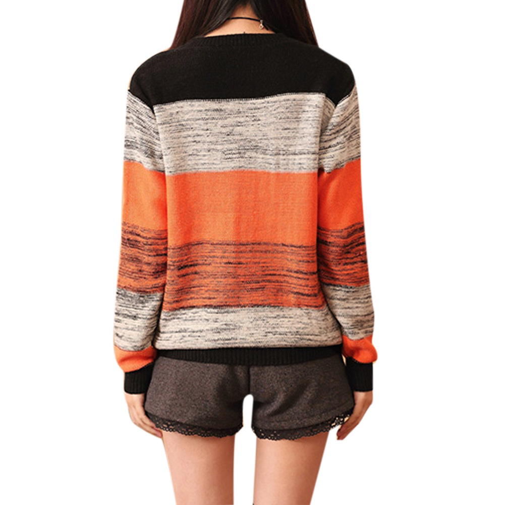 >Female striped turtleneck sweater round neck long sleeved shirt color loose sweater<3
