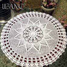 50/55/60CM Round Crochet Coasters Cotton Lace Cup Mat Vintage Placemat Handmade Shabby Chic DIY Crocheted Table Cloth