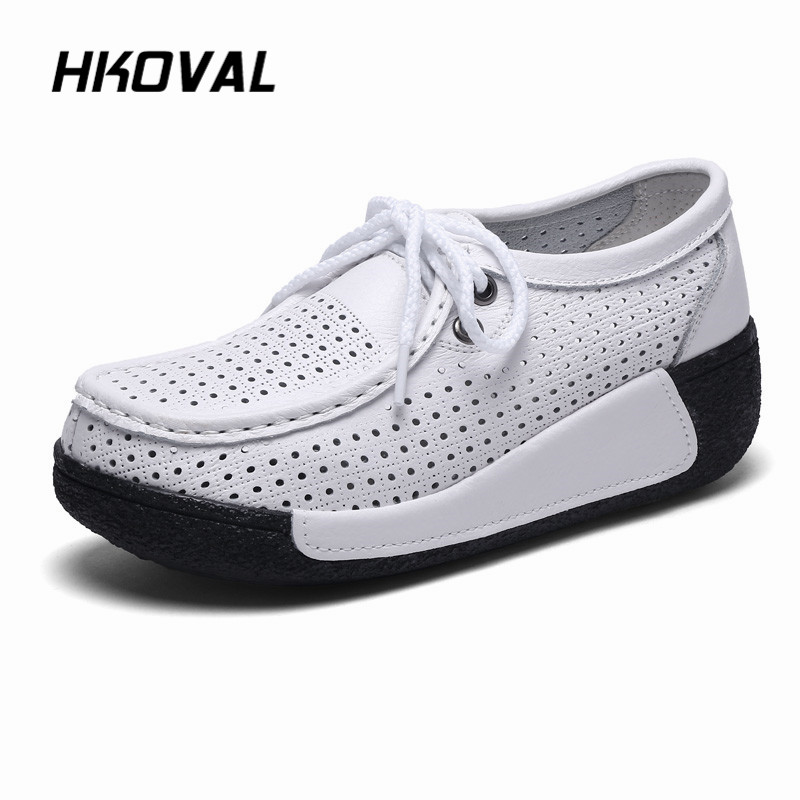 HKOVAL Women Shoes Sneaker Loafers Genuine Leather Flats Moccasins Summer Autumn Winter Female Casual Ladies Plush Footware
