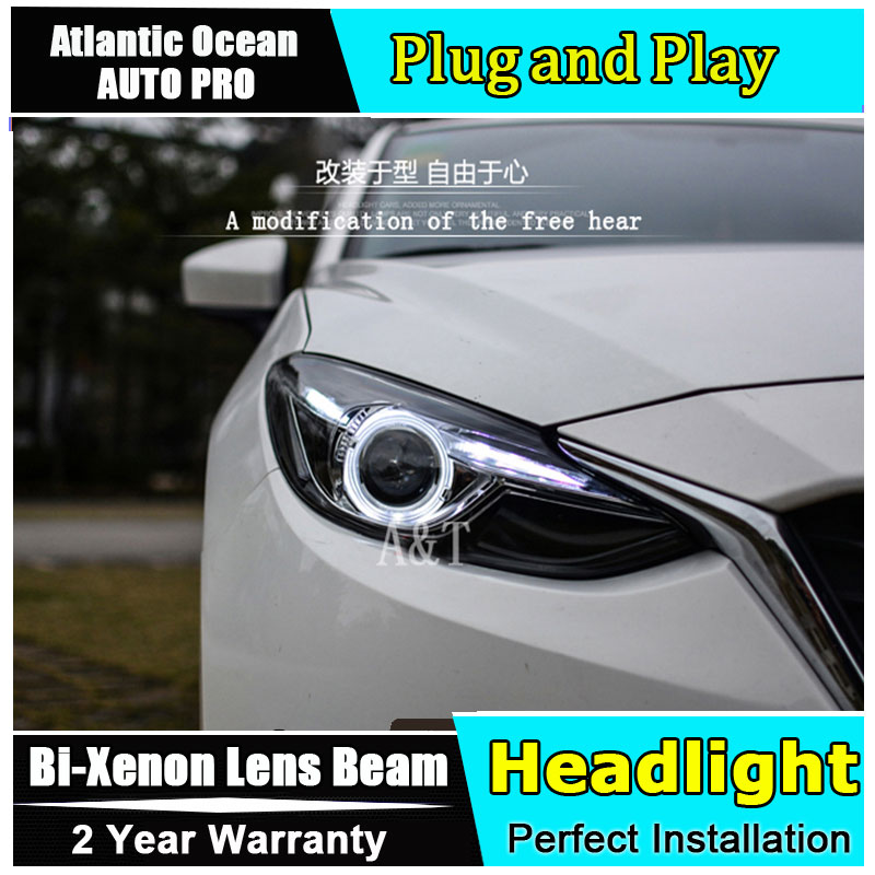Car Styling Head Lamp for Mazda 3 led headlights 2014-2016 New Mazda3 Angel eye led HID KIT Bi-Xenon Lens low beam car styling led head lamp for ford kuga led headlights 2014 taiwan escape angel eye drl h7 hid bi xenon lens low beam